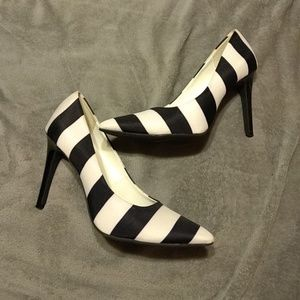 Black and White Striped Christian Siriano Heels
